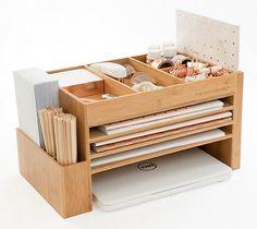 Comprehensive Desk Organiser | A stylish and spacesaving desk organiser made of bamboo that is also a docking station. #deskorganiser #dockingstation #workstation #desktop #storagesolution #spacesaver #organiser
