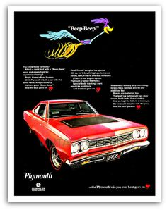 1968 Plymouth Road Runner Advertising Poster.  #MoparMuscleCars