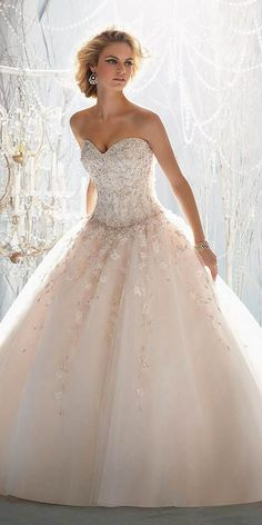 27 Peach & Blush Wedding Dresses You Must See | Blush wedding ...