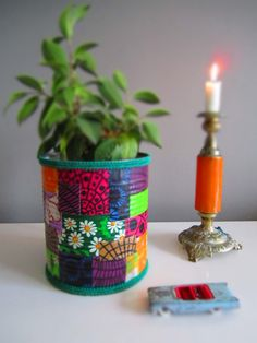 tin can decorated with textile
