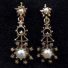 // Victorian Drop Chandelier 14k Gold Pearl Earrings w/stars