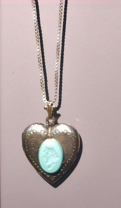 Vintage Intaglio Cameo on Front of Vintage Heart Shaped Locket by emenow, $39.00