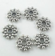 Antique SILVER Daisy Spacer 30 Beads 8.5mm by HalfPennyBoutique