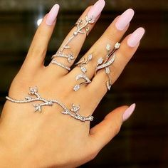 Hand bracelet & pink nail arts