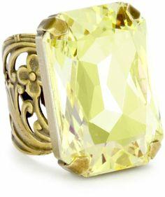 "Sorrelli ""Mirage"" Octagonal Crystal Cocktail Gold-Tone Wide"