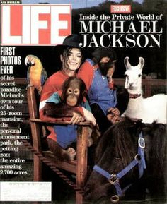 """Michael Jackson With Animals ~ Life Magazine ~ June 1, 1993 issue ~ Click image or visit oldlifemagazines.com to purchase. Enter """"pinterest"""" at checkout for a 12% discount."""