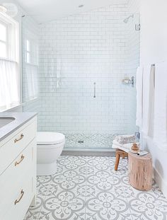 not so plain white bathroom with great walk-in shower, grey & white floor tiles and grey countertop add interest to basic white room, change gold handles to match shower fixtures, Vancouver, BC