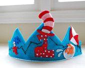 Fieltro y Tela Personalizada Feliz Cumpleaños Corona Dr Seuss