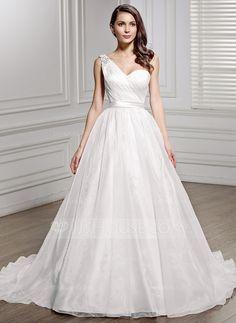 Corte A/Princesa Un sólo hombro Cola corte Organdí Charmeuse Vestido de novia con Volantes Bordado Lentejuelas Lazo(s) (002056447)
