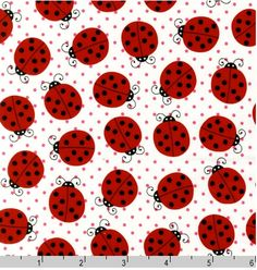 STRAWBERRY Lady Bugs by Pink Light Design from Picnic Party for Robert Kaufman Fabrics 12977 98. $5.50, via Etsy.
