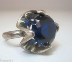 Taxco Ring Blue Stone Vintage Found in Forgotten Jewelers Safe Sterling Silver
