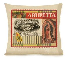 Mexican/Southwest Pillow - Day of the Dead - El Dia de Los Muertes - 16x16 - Linen backing - Mexican Throw Pillow - Insert included