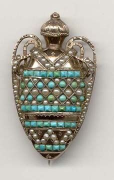Victorian Urn brooch with locket back...urn possibly created to hold loved ones hair or cremated remains....circa 1840-60