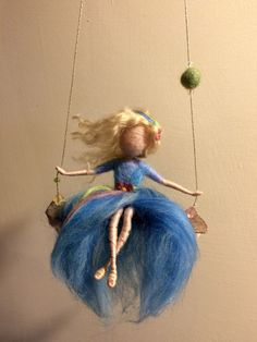 "Needle felted Fairy Waldorf inspired Wool Fairy in blue dress on a swing ""Gone with the Wind"" Art doll Mobile Children room Home decor by DreamsLab3 on Etsy https://www.etsy.com/listing/256067983/needle-felted-fairy-waldorf-inspired"