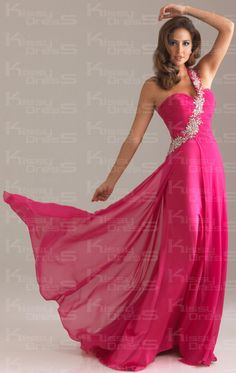 Fushia Empire Sheath/Column One Shoulder Floor-length Chiffon Prom Dress