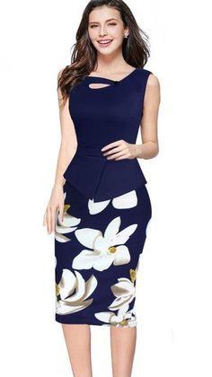 2ce44a552e3 MisShow 5XL Floral Bodycon Work Dress 2018 Spring Summer Women Pencil Dress  Christmas Dress Plus Size Formal Dress. Dress StylesWork AttireWomen s  Fashion ...