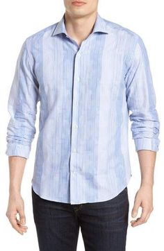 Culturata Tailored Fit Patchwork Stripe Sport Shirt