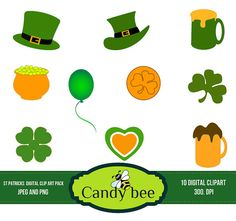Happy Paddys Day Clipart / St. Patricks Day Ribbons & Banners / Bunting Flags / Clip Art / Digital Clipart - Instant Download    Product :  * 20