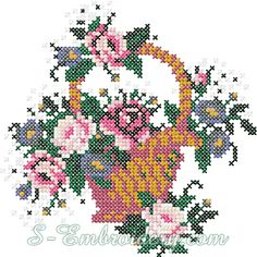 Cross stitch flower basket embroidery