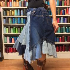RESERVED Light Dark Denim Patchwork Skirt Frayed от sewsomer