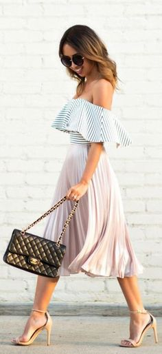 An effortless spring look | Blush pink pleated skirt + Off the shoulder striped pattern top
