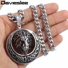 Buy Davieslee Men's Jewelry Lion Head Knot Gold/Silver Stainless Steel Pendant Necklace Chain at Wish - Shopping Made Fun Lion Necklace, Pendant Necklace, Necklace Chain, Gold Chains For Men, Silver Jewelry, Men's Jewelry, Black Silver, Jewels, Stainless Steel
