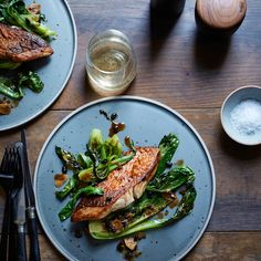 Snapper with Black Beans and Bok Choy | The secret ingredient in the tasty sauce here is rose, which combines perfectly with the classic Chinese flavors in this dish