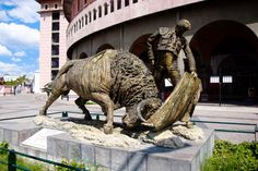 """Statue depicting famous bullfighter Miguel Espinoza """"Armillita Chico"""" . He and his family have been part of the """"fiesta brava"""" for over 100 years. The statue is located in front of the Plaza de Toros Monumental, Aguascalientes."""