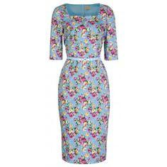 Robe Crayon Pin-Up Rétro Rockabilly Floral Doris Day Dresses, Blue Dresses, Dresses For Sale, Dresses For Work, Vintage Inspired Fashion, Vintage Inspired Dresses, Dress Vintage, Mode D'inspiration Vintage, Mode Rockabilly