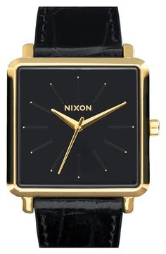 Nixon 'The K Squared' Leather Strap Watch, 32mm x 30mm available at #Nordstrom