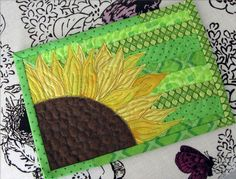 sunflower mug rug by nanotchka [This would start my morning with a smile!]