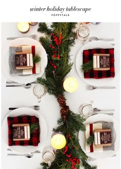berry garland holiday tablescape