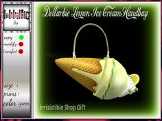 irrISIStible shop : DOLLARBIE LEMON ICE CREAM HANDBAG copy Lemon Ice Cream, Cheap Shopping, Second Life, Just For You, Ethnic Recipes, Unisex, Food, Accessories, Lime Sherbet