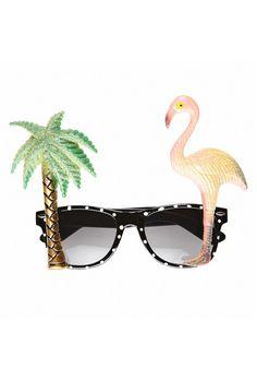 Flamingo Sparkle Glasses Specs Hawaiian Festival Holiday Fancy Dress Accessory