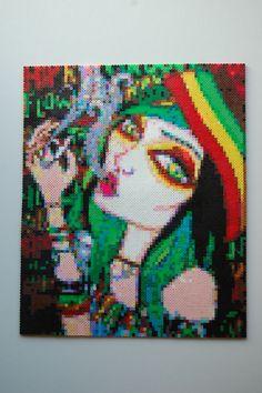rasta girl perler bead art made by me - amanda wasend