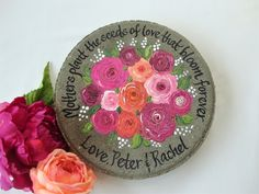 Hand painted garden stones and wedding glassware by Personalized Retirement Gifts, Retirement Gifts For Women, Wedding Gifts For Parents, Beautiful Gifts For Her, Unique Gifts For Mom, Employee Appreciation Gifts, Employee Gifts, Mother Of The Groom Gifts, Bride And Groom Gifts