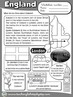 Teach Your Child to Read - England - Worksheet (BW version) - Give Your Child a Head Start, and.Pave the Way for a Bright, Successful Future. English Day, English Reading, Learn English, English Vocabulary, English Grammar, Teaching English, English Primary School, English Classroom, Geography For Kids