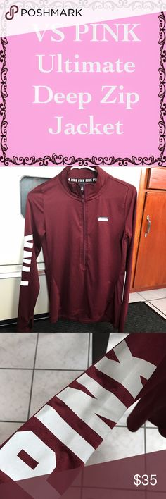 VS PINK Ultimate Deep Zip Maroon Jacket XS Jacket is in excellent condition worn a couple times in doors washed once. Price is negotiable reasonable offers only. I do bundle. Victoria's Secret Tops Sweatshirts & Hoodies