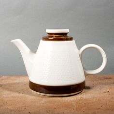 Rorstrand tea pot Olle Alberius teapot white brown pot coffee modern teapot mid century swedish scandinavian home decor retro kitchen teapot
