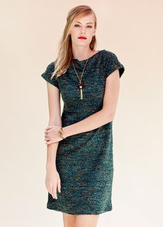The lovely Lesley Evers Cameron dress on model with Kelley Hollis vintage lucite pendant Short Sleeve Dresses, Dresses With Sleeves, Night Life, Fall Winter, Teal, Pendant, Model, How To Wear, Vintage