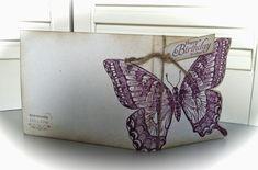 """WOW, wat is deze vlinderstempel leuk!!! Het is een grote stempel, de achtergrondstempel """"Swallowtail"""" van Stampin Up! Wat past ie mooi ..."""