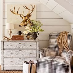 Rustic Charm - Fabulous Foyer Decorating Ideas - Southern Living..Vintage + Cabin + Love the deer print + Lake House + Cabin..living area + Chippy + Plaid