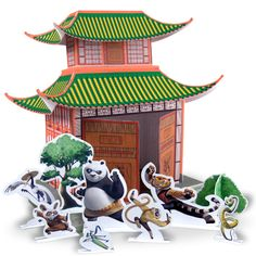 Craft this colorful, Chinese pagoda diorama and use as both a stage for action and a showpiece. free to download