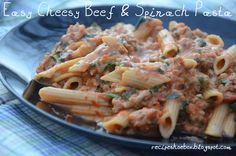 Recipe Shoebox: Easy Cheesy Beef and Spinach Pasta Will replace beef with vegan protein substitute of some sort
