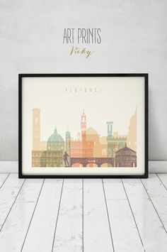 Florence print, Poster, Wall art, Italy cityscape, Firenze skyline, City poster, Typography art, Gift, Home Decor Print, ART PRINTS VICKY.