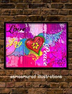 Love Joy Peace Art Print - Doodle and Digital mix  Original by Asmaa' Murad