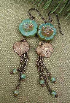 sold | Boho Chic Ear  sold | Boho Chic Earrings Teal Blue Picasso Czech Glass by BonArtsStudio