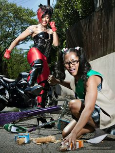 I love it! Motorcycle chick meets girl scout.