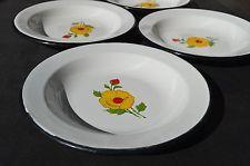 "Four vintage ENAMELWARE 9"" soup bowls - poppy rose flowers Japanese"