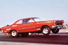 | Here is a rare shot of the car that changed drag racing forever, the Eliminator I Mercury Comet flip-top Funny Car. It was designed by Lincoln-Mercury racing
